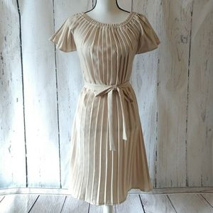 Shabby Apple Beige Cream Pleated Midi Dress Small